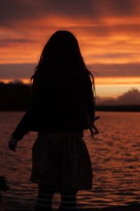 Lough Lannagh girl sunset